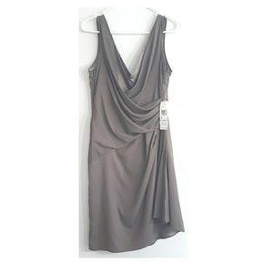 Anne Klein beige scrunched v-neck dress NWT